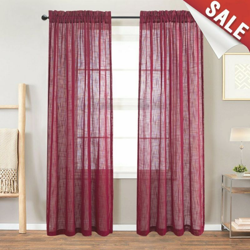 Linen Look Burgundy Sheer Curtains For Living Room Rod Pocket Curtain Panels For inside 10+ Unique Gallery Burgundy Curtains For Living Room