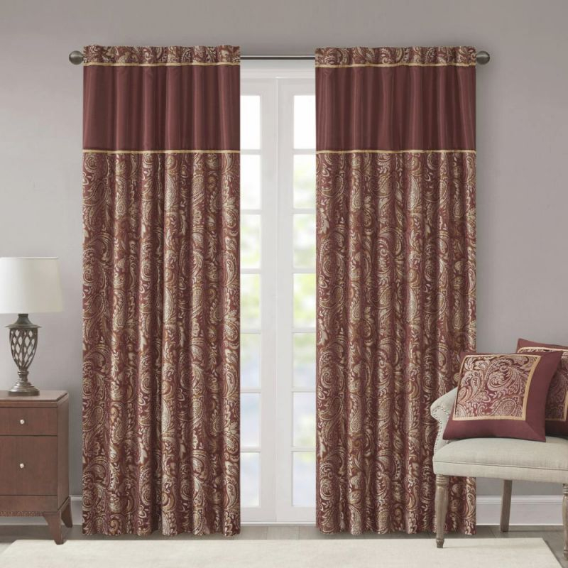 Madison Park Whitman Burgundy Room Darkening Curtain 50 In. X 95 In. (2) Jacquard Panel Pair throughout 10+ Unique Gallery Burgundy Curtains For Living Room