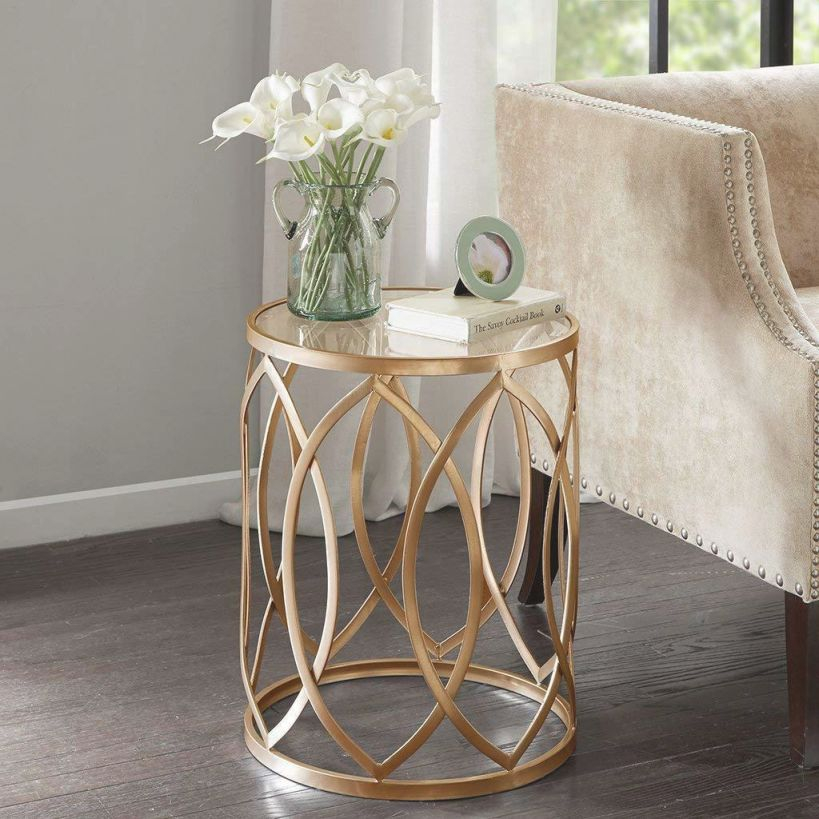Modern Accent Tables Gold Metal Frame Glass Top Drum Table Living Room Furniture with Accent Tables For Living Room