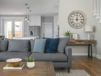 Open Layout Living Room, Kitchen, Gray Sectional, Stonington with regard to Blue And Grey Living Room