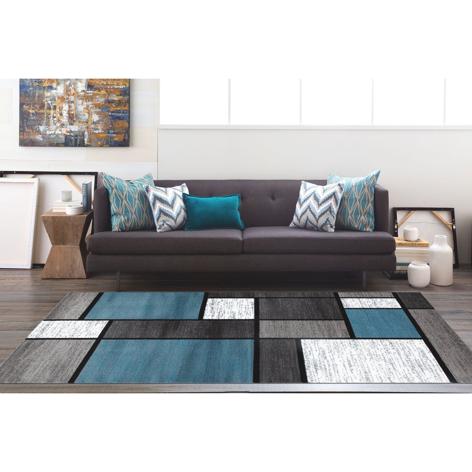 "Osti Modern Boxes Blue/ Black/ Grey Contemporary Area Rug - 5'3"" X 7'3"" intended for 12+ Awesome Gallery For Blue And Grey Living Room"