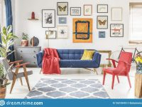 Patterned Carpet In Colorful Living Room Interior With Red for 15 Beautiful Ideas Blue And Yellow Living Room