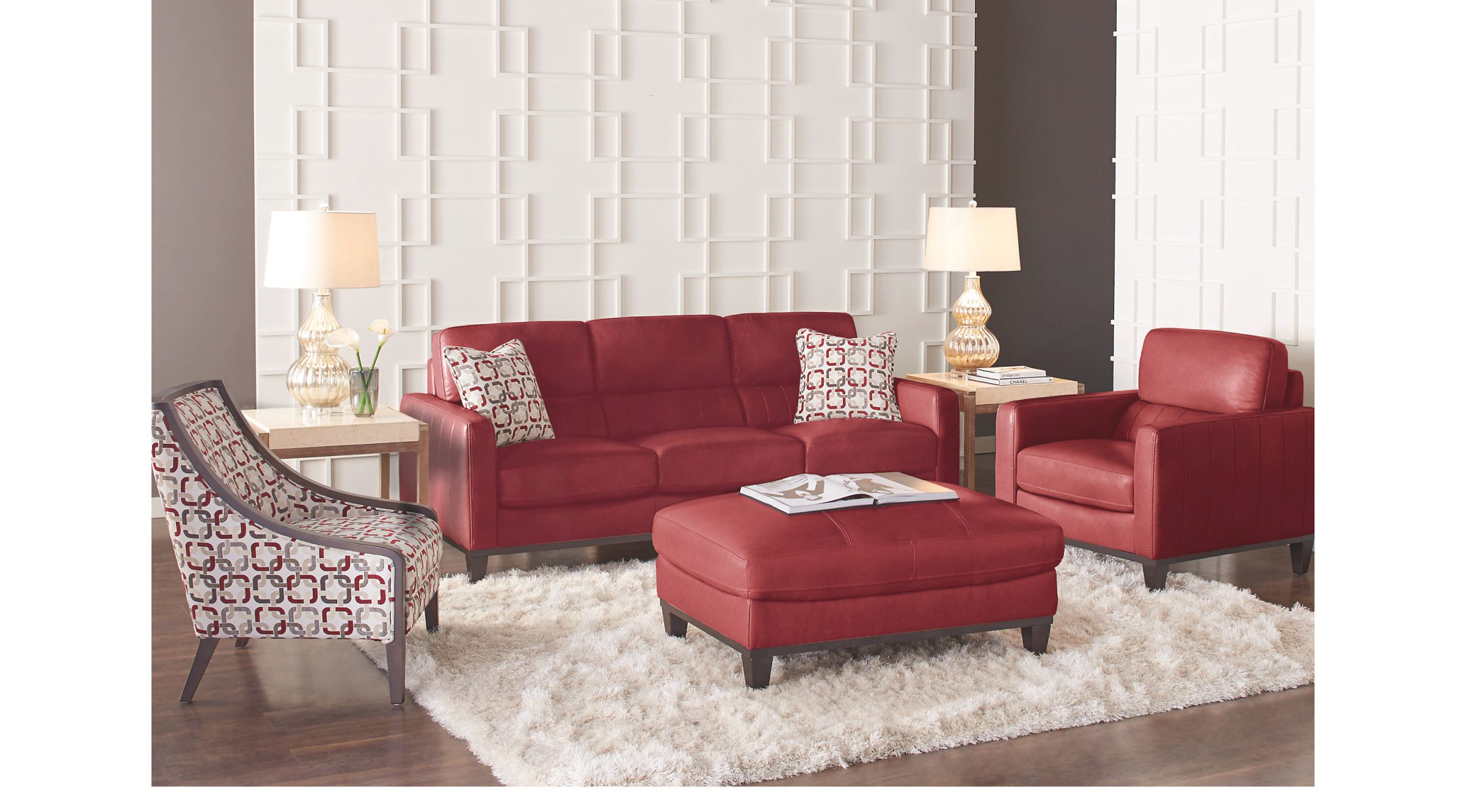 Prospect Park Red Leather 4 Pc Living Room with regard to Brown And Red Living Room