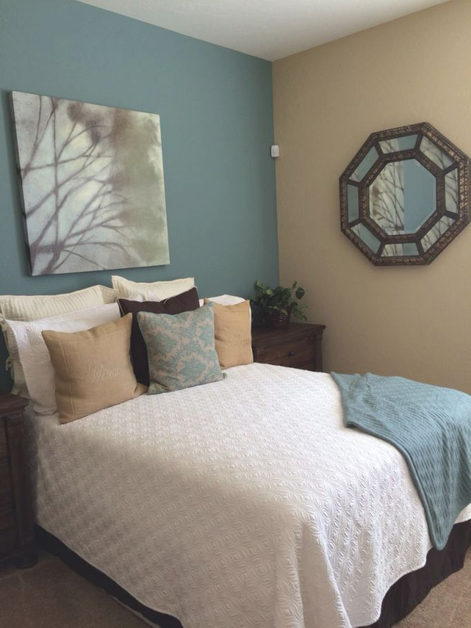 Sherwin Williams Paint- Moody Blue & Row House Tan | Bedroom intended for Blue And Tan Living Room