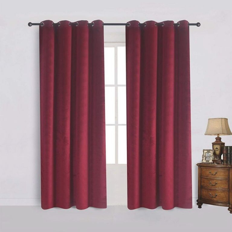 Us $11.42 30% Off|Modern Burgundy Solid Velvet Curtains For The Bedroom Living Room Custom Size Blackout Curtain Blinds Finished Drapes with regard to Burgundy Curtains For Living Room