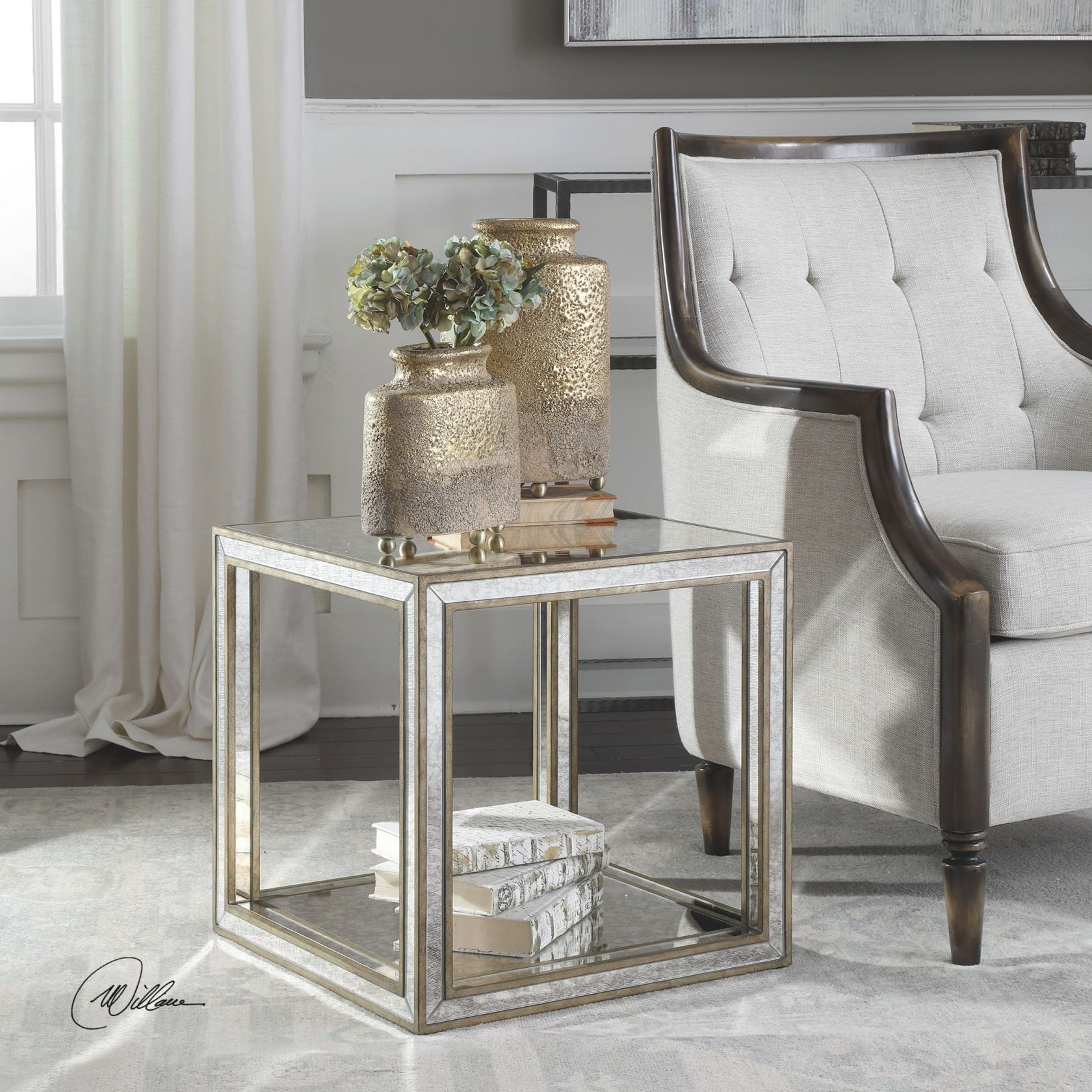 Uttermost Julie Mirrored Accent Table intended for Accent Tables For Living Room