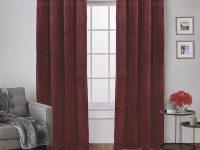 Velvet 54 In. W X 84 In. L Velvet Grommet Top Curtain Panel In Burgundy (2 Panels) throughout Burgundy Curtains For Living Room