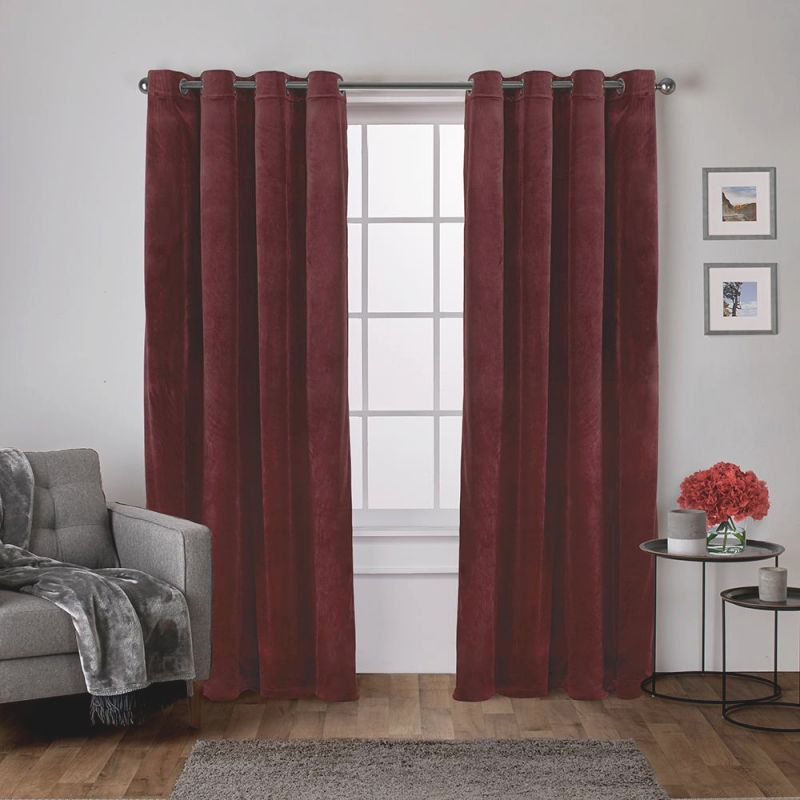 Velvet 54 In. W X 84 In. L Velvet Grommet Top Curtain Panel In Burgundy (2 Panels) throughout Burgundy Curtains For Living Room