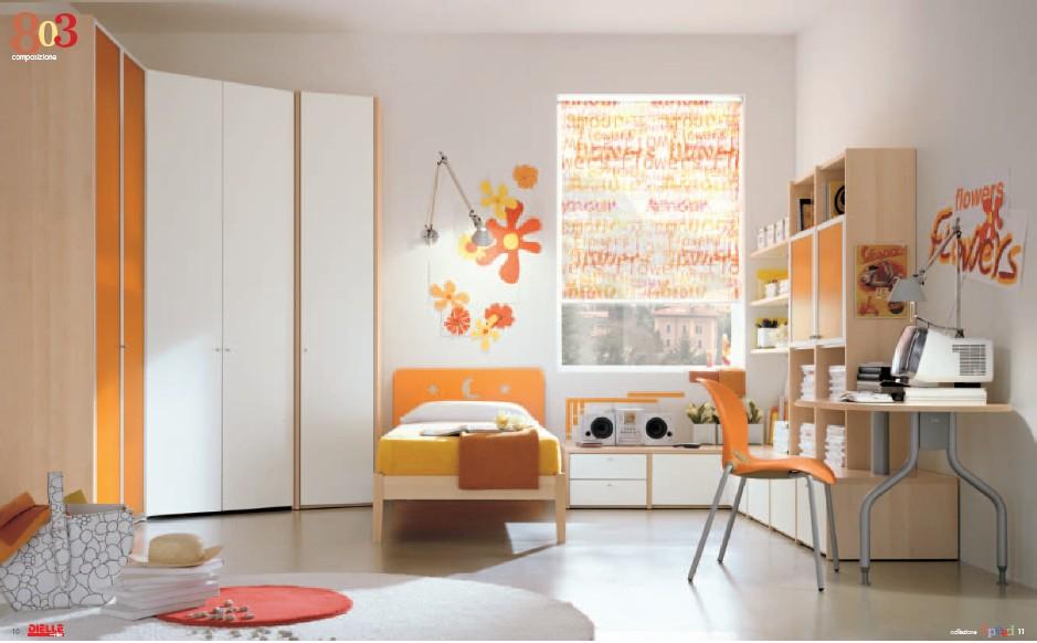 Orange-and-white-bedroom