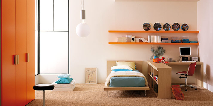 turquoise-orange-bed-room