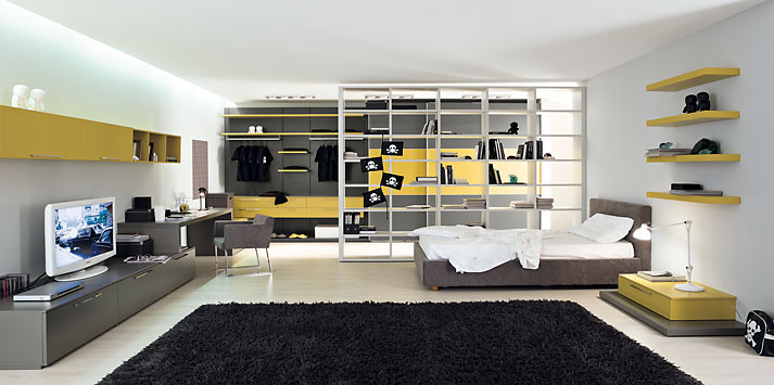 yellow-grey-bed-room