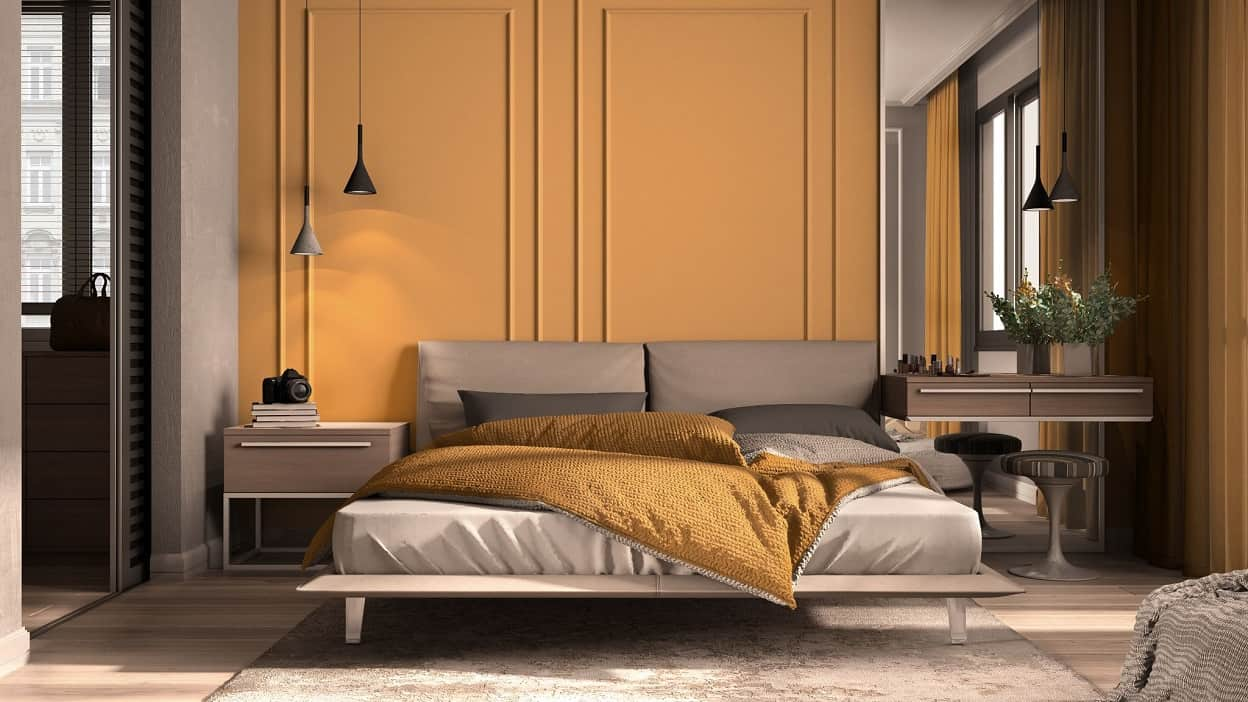 5 Unique Ways to Use Colour in Home Interiors. Muddy brown wall paint and black hanging lamps for unusual noir styled bedroom