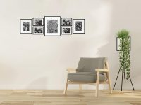 Golden State Art, Set of 7, Aluminum Black Photo Frame with Ivory Color Mat & Real Glass,