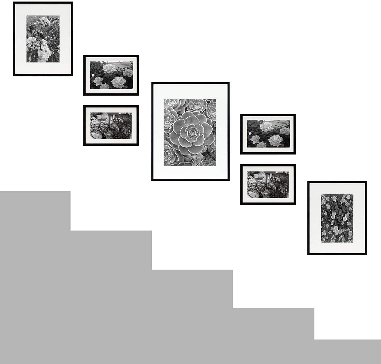 Golden State Art, Set of 7, Aluminum Black Photo Frame with Ivory Color Mat