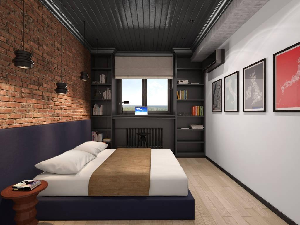 Contrasting in materials and colors industrial bedroom