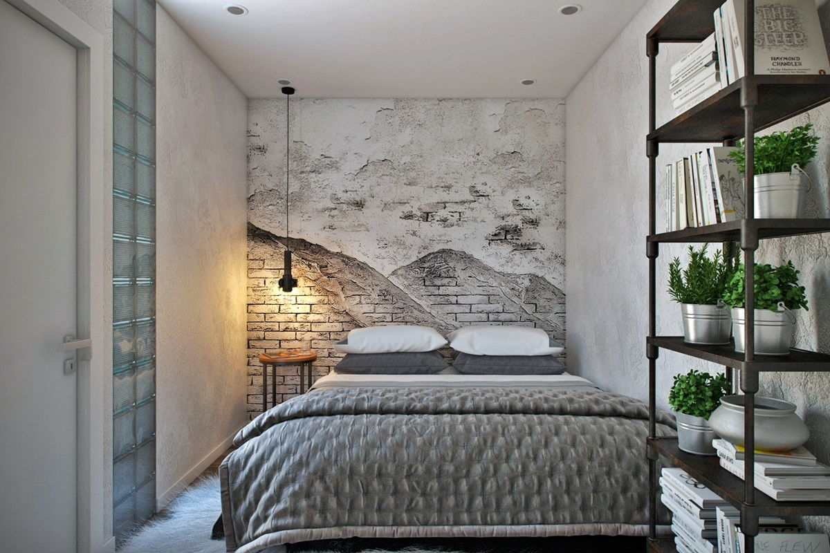 Loft Style Bedroom Best Design Examples with Photos. White and black combination for austere bedroom with headboard wall picture