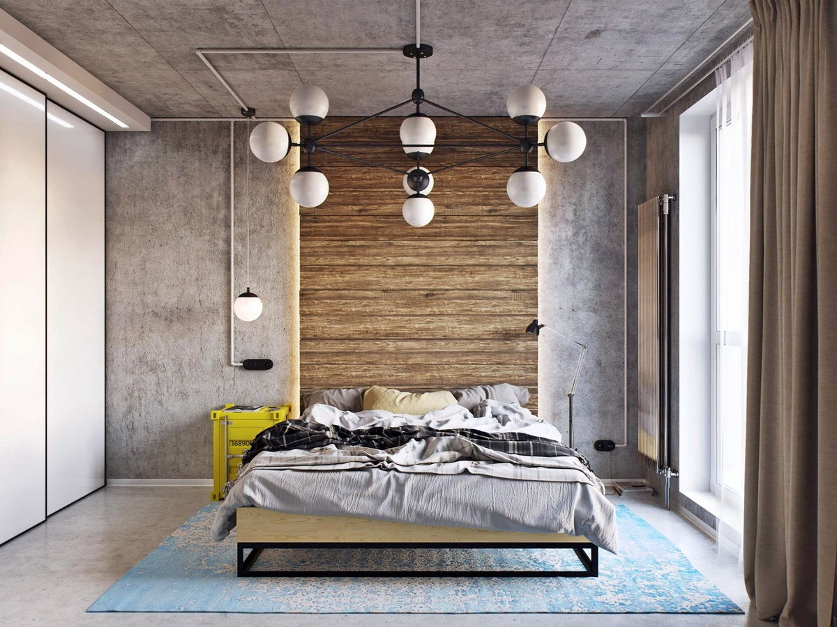 Loft Style Bedroom Best Design Examples with Photos. Brutalist concrete walls, exposed electical wiring