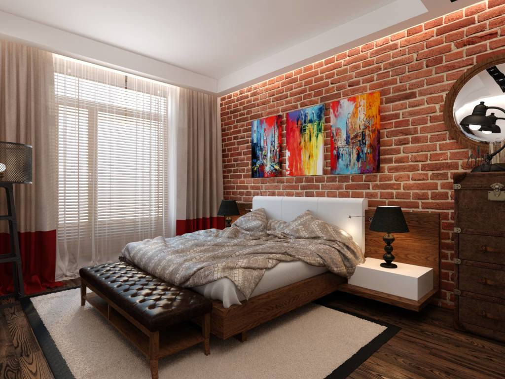 Artistic interior design for casual styled bedroom with colorful picture at the brickwork wall