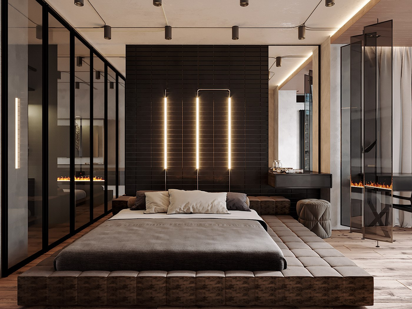 Japanese minimalism for real bedroom with log platform bed, glass wall and dark wooden background