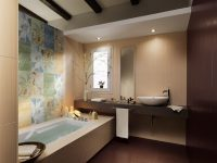 Floral-bathroom-tiles-floating-vanity-unit