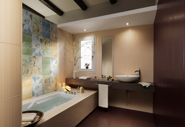 Floral-bathroom-tiles-floating-vanity-unit