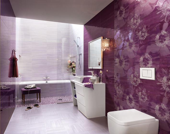 Purple-white-floral-bathroom-ceramic-tile