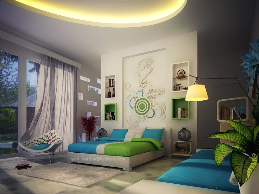 green-blue-white-contemporary-bedroom-decor