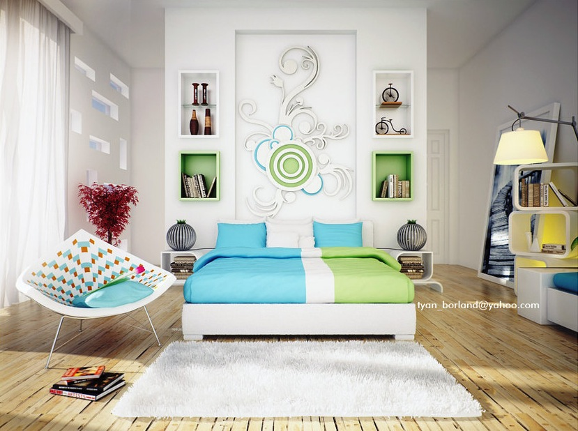 green-blue-white-contemporary-bedroom