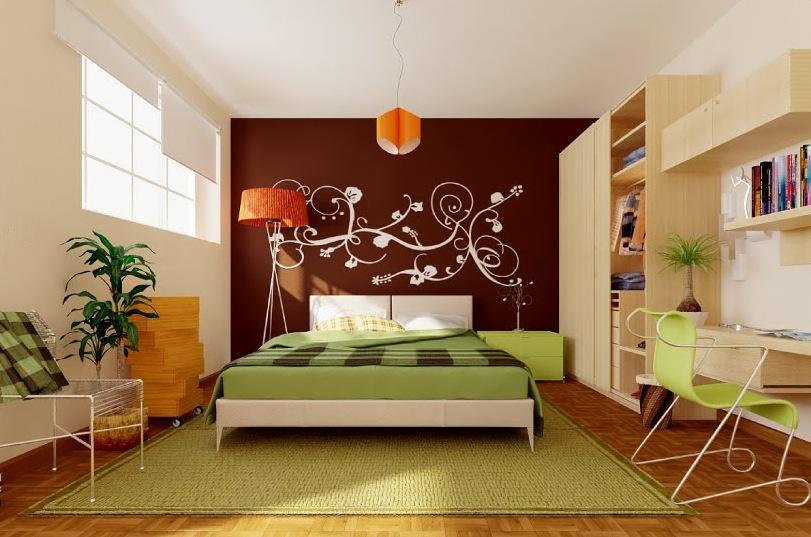 green-brown-orange-modern-bedroom