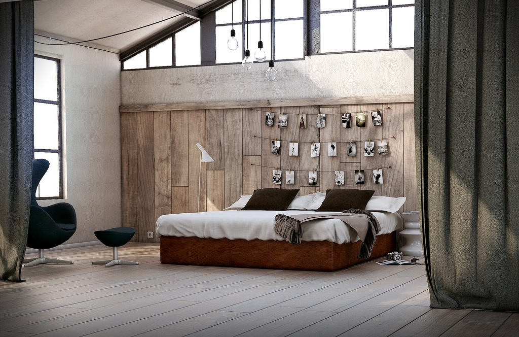 utilitarian-eclectic-bedroom-photograph-feature-wall