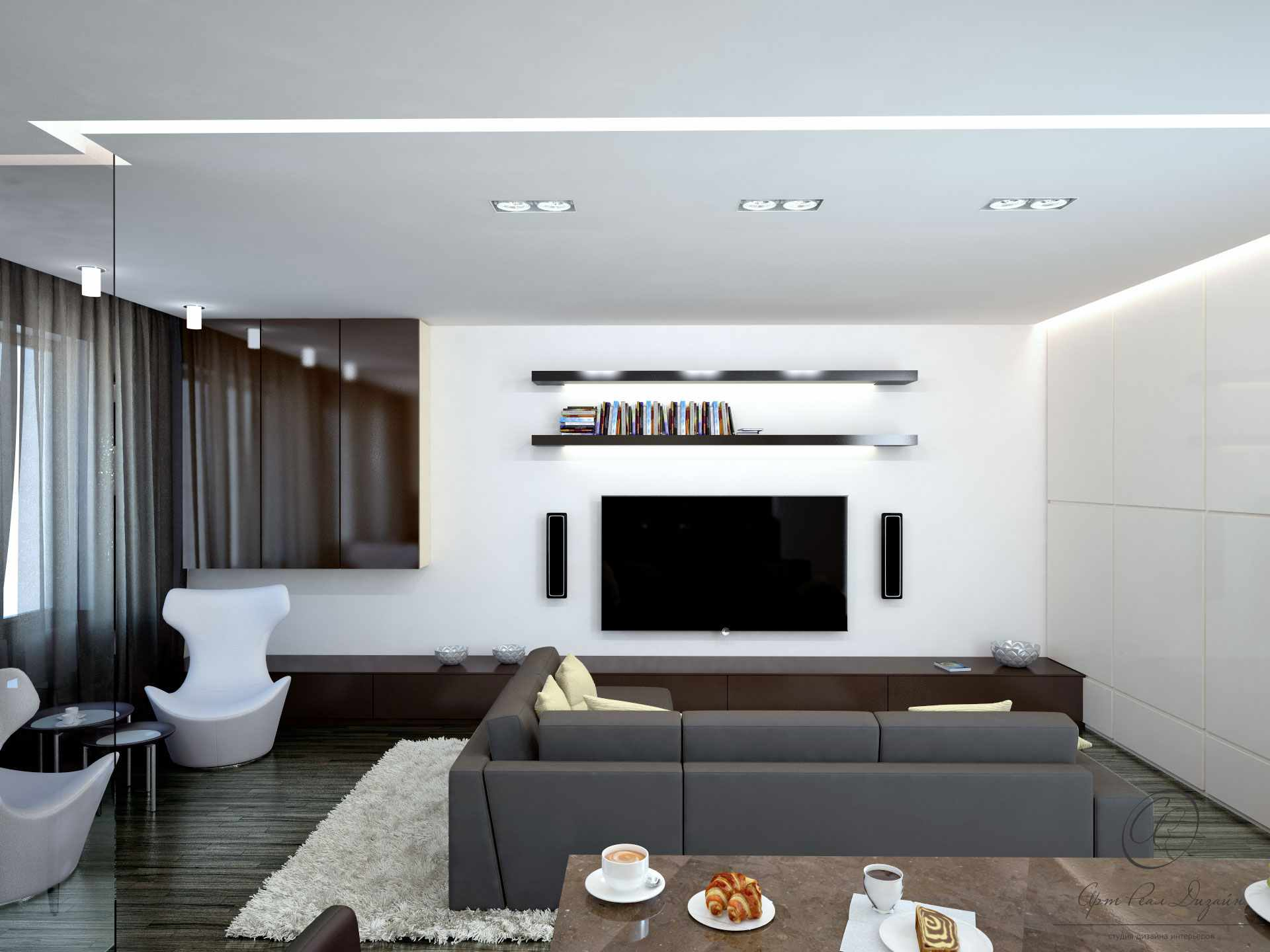 Minimalism for Living Room: Laconic Practical Design. Flat TV and open shelves on the white wall