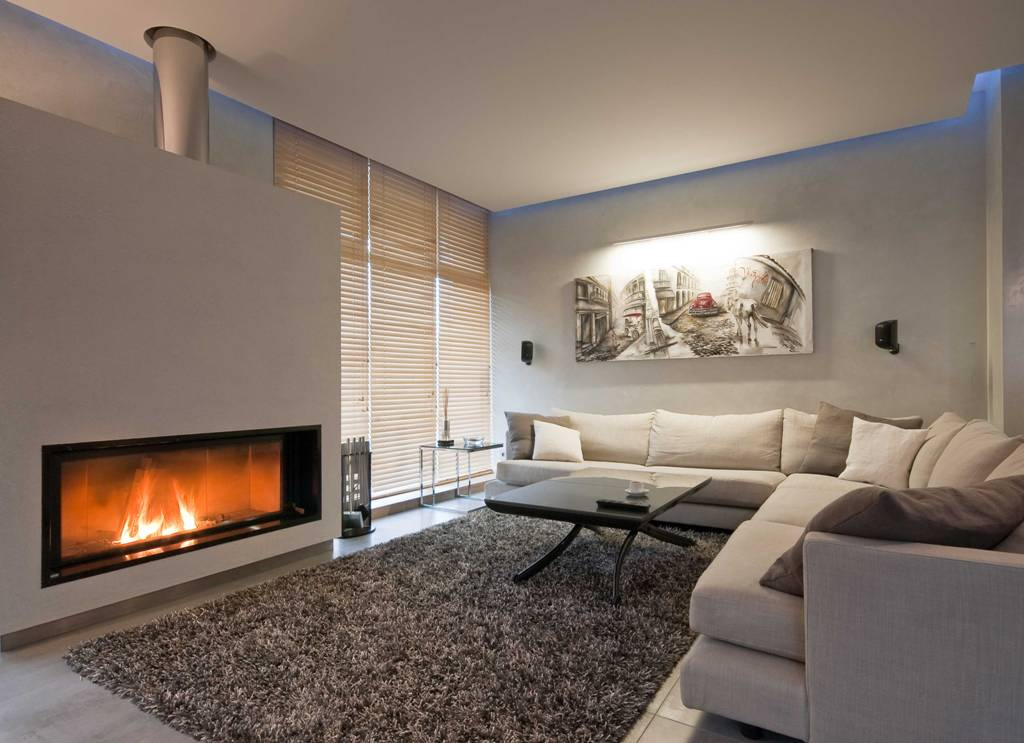 Neat modern minimalism with LED ceiling lighting and decorative open-flame fireplace