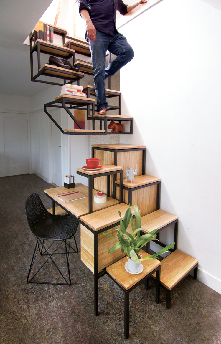 eclectic-wood-and-iron-stairs-with-storage