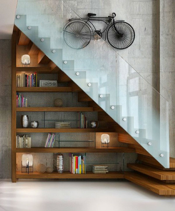 glass-and-wood-shelves-under-stairs-hipster