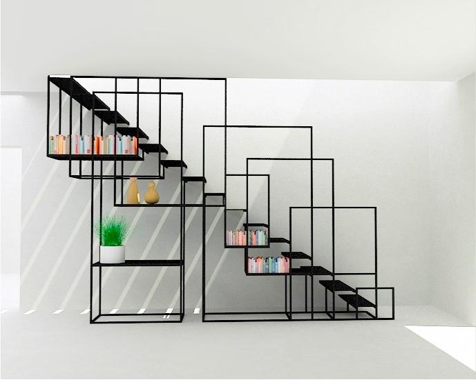 iron-grid-artistic-under-stair-storage-plans