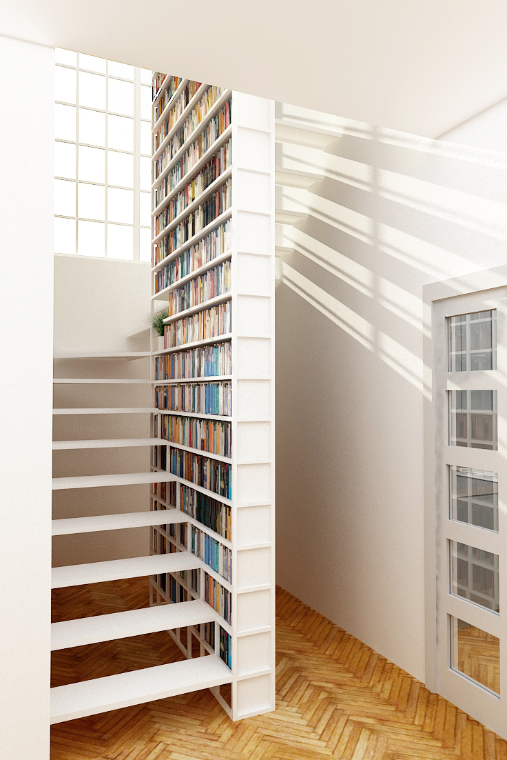 library-panel-white-stair-storage