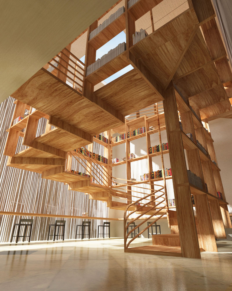 light-wooden-library-loft-stair-storage