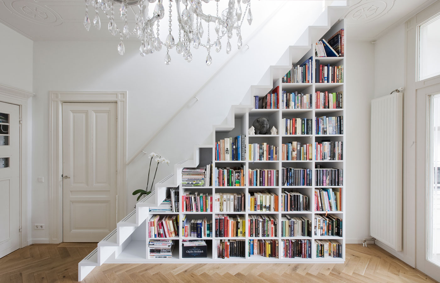 white-compartmented-library-stair-bookcase