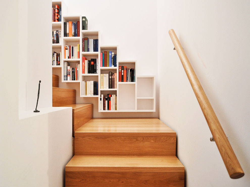 white-compartments-wooden-stair-bookcase