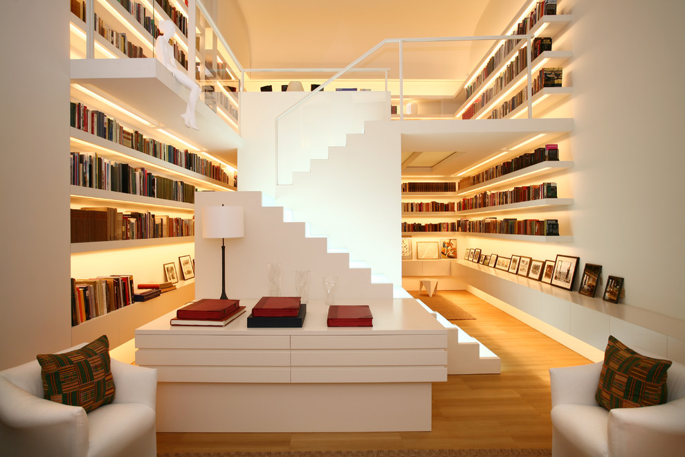 white-stairs-wooden-bookcase-under-stairs-shelves