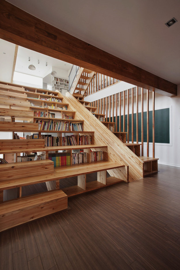 wide-wooden-library-stair-step-bookcase