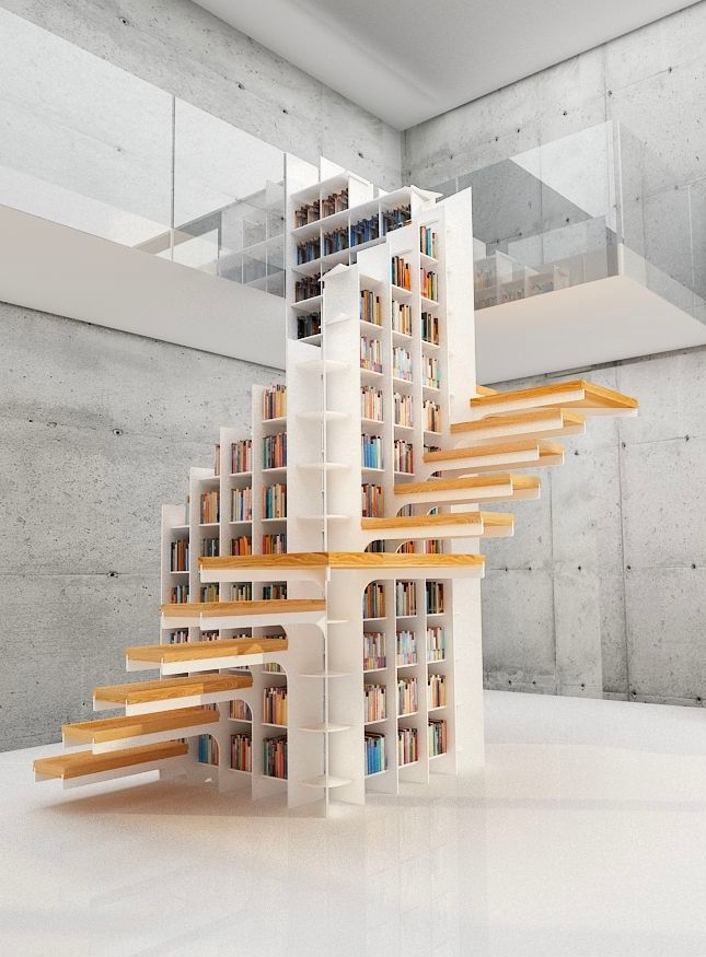 wood-and-white-library-column-stair-step-bookcase