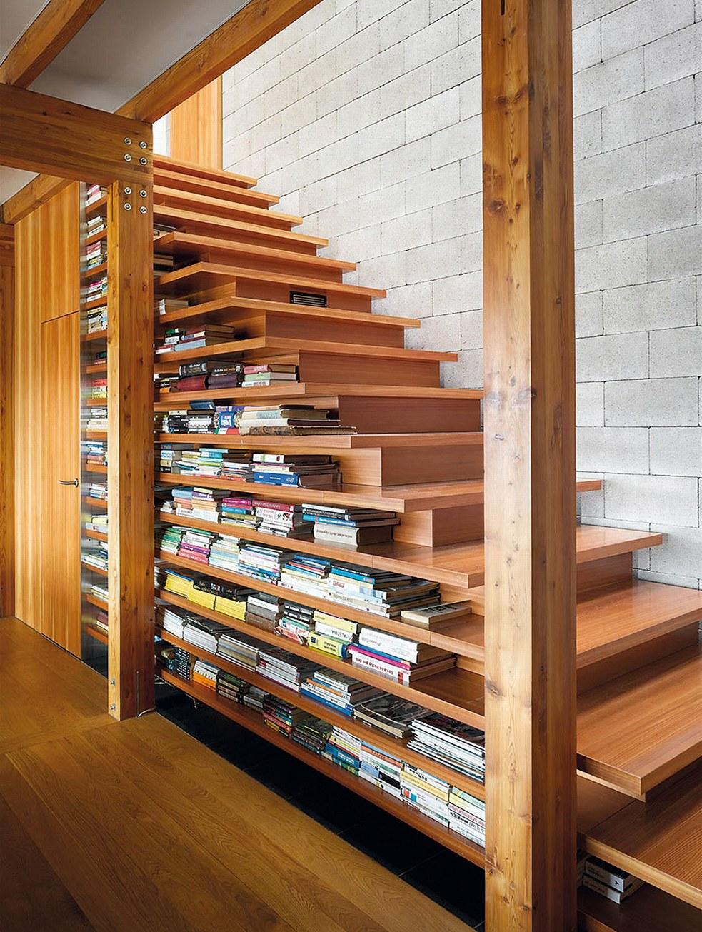 wooden-gradated-under-stairs-shelves