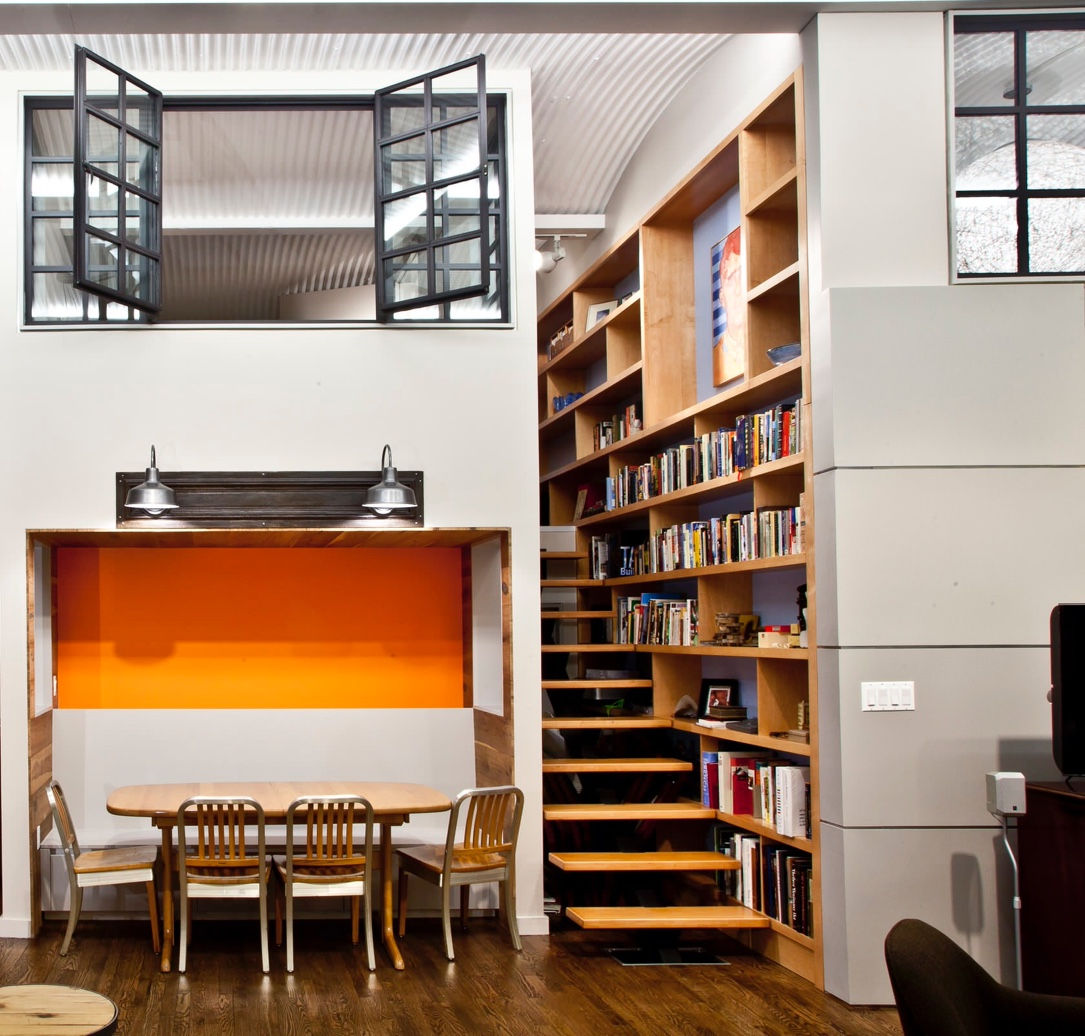 wooden-library-compartmentalised-stair-shelves