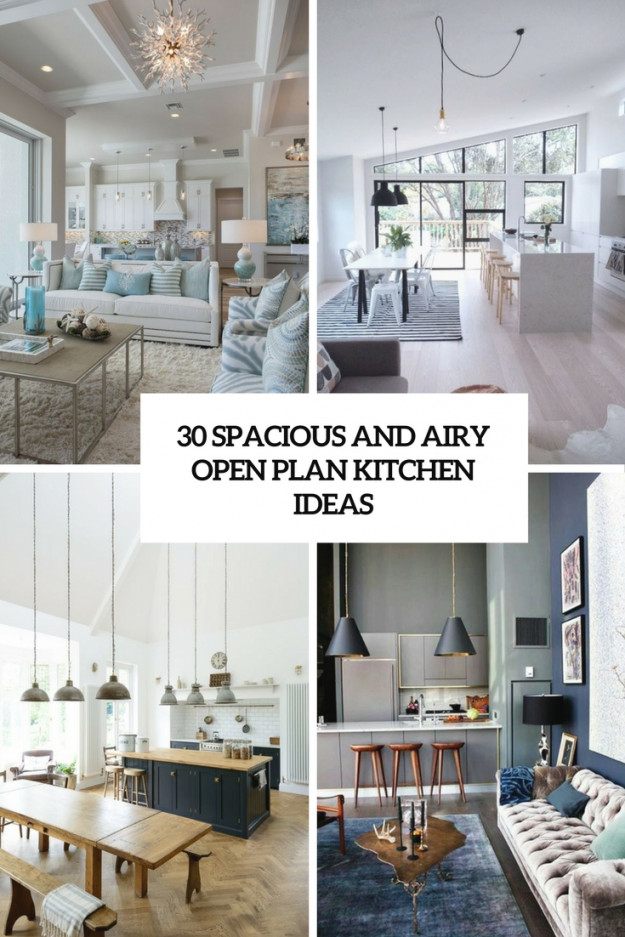 30 Spacious And Airy Open Plan Kitchen Ideas - Digsdigs with 8+ Amazing Inspiration Ideas For Open Kitchen Living Room Design