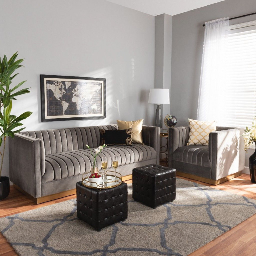 Baxton Studio Aveline Glam And Luxe Grey Velvet Fabric Upholstered Brushed Gold Finished 2-Piece Living Room Set – Wholesale Interiors for Grey And Gold Living Room