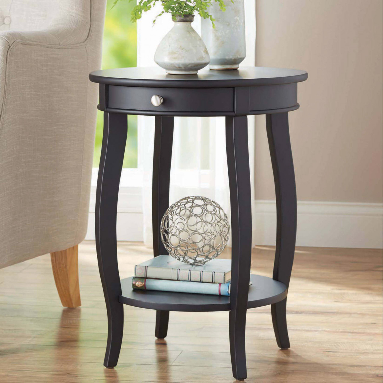 Better Homes & Gardens Round Accent Table With Drawer, Black - Walmart in 9+ Awesome Inspiration For Small End Tables Living Room