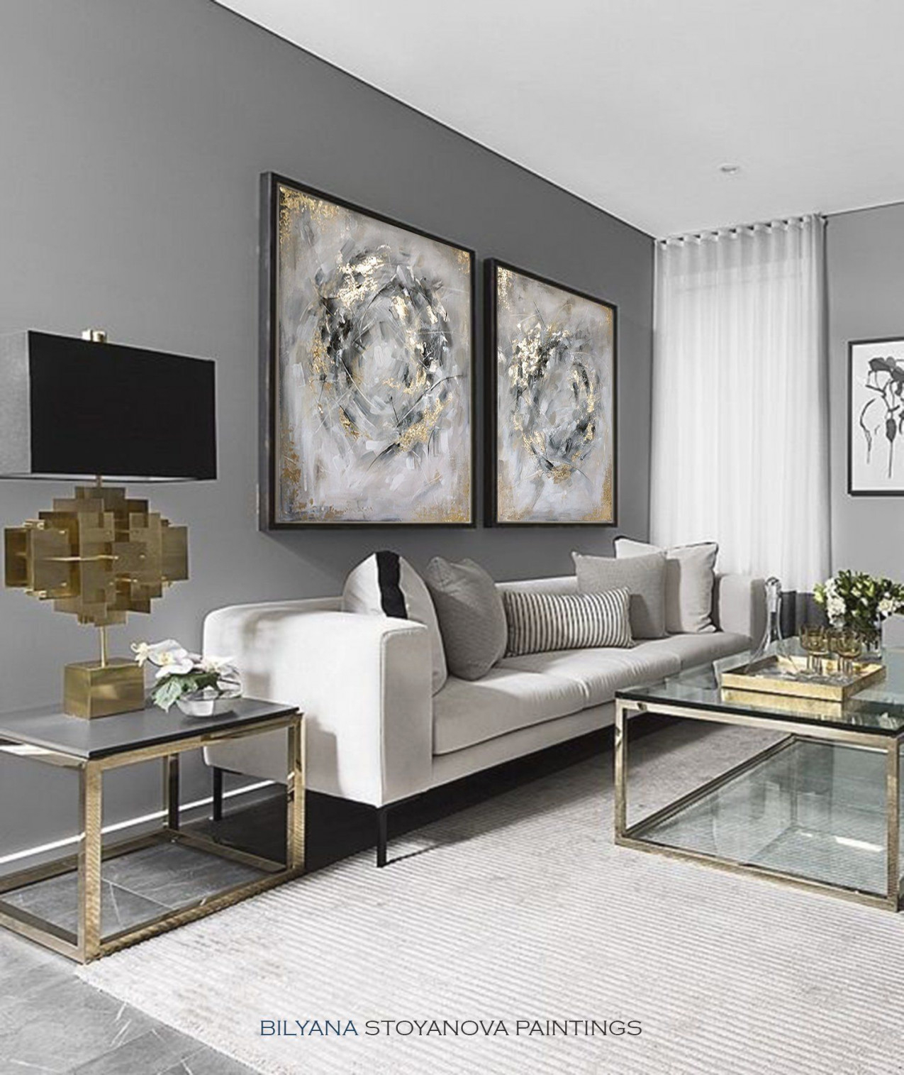 Circle Of Infinity Large Grey And Gold Abstract Painting with regard to Grey And Gold Living Room