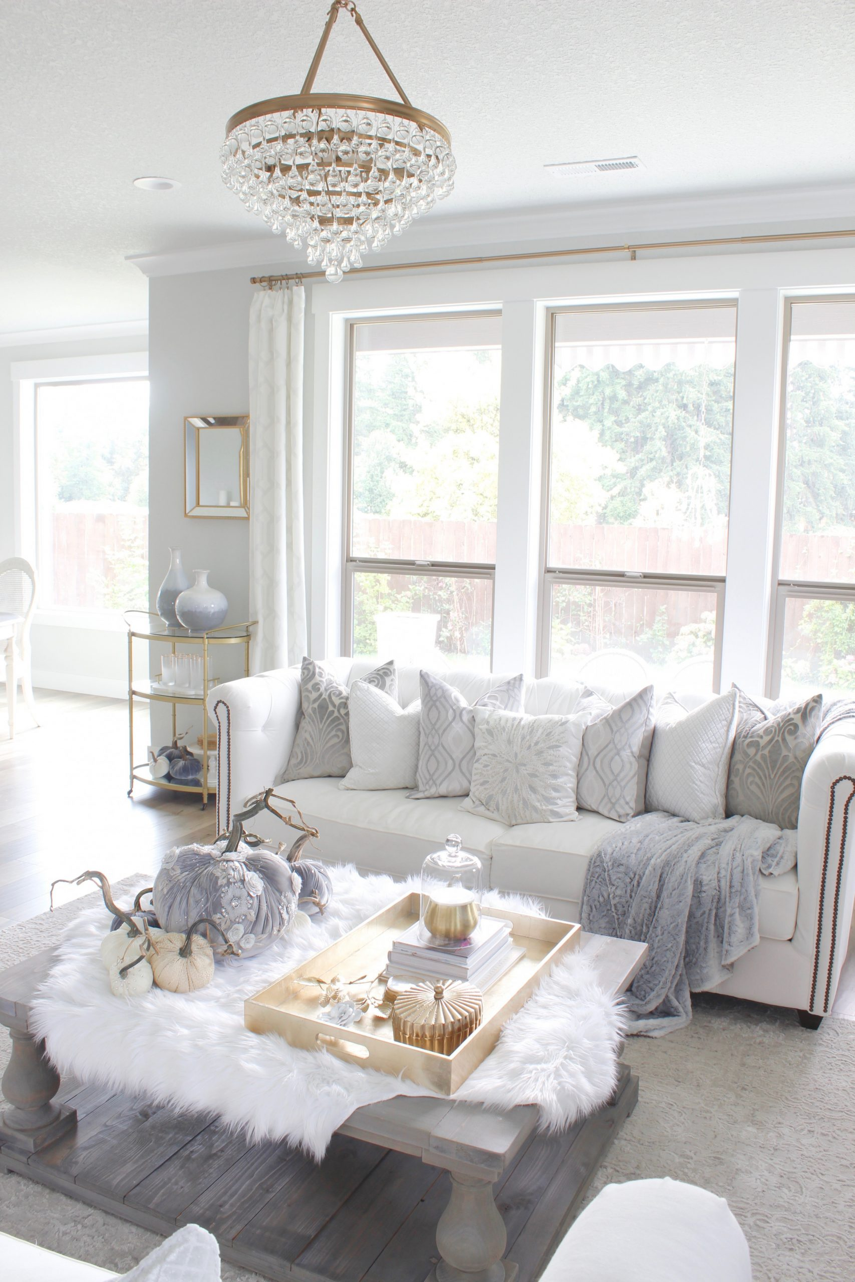 Elegant Fall Mantel & Living Room In Gray & Gold – 21 intended for 10+ Ideas Grey And Gold Living Room