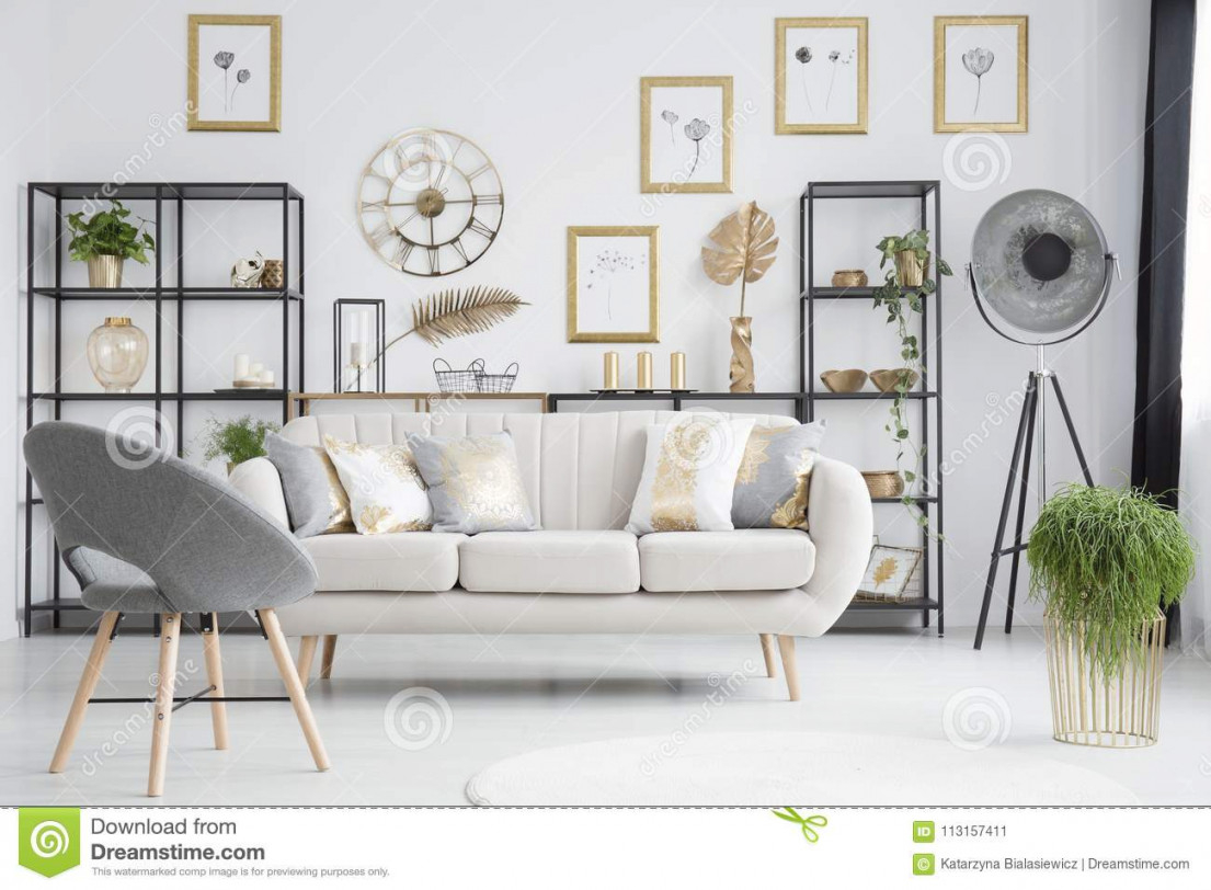 Grey And Gold Living Room Stock Image. Image Of Loft - 113157411 with 10+ Ideas Grey And Gold Living Room